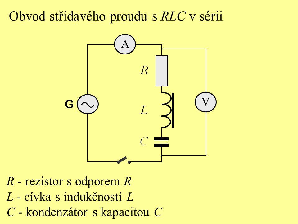 G Obvod střídavého proudu s RLC v sérii A V R - rezistor s odporem R L - cívka s indukčností L C - kondenzátor s kapacitou C