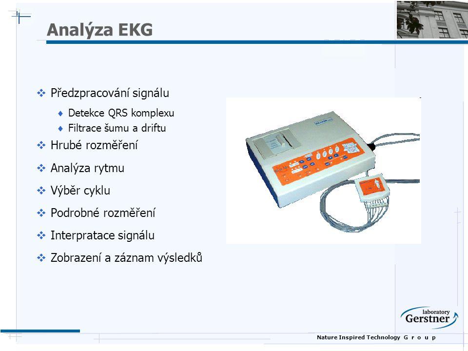 Nature Inspired Technology G r o u p Analýza EKG  Předzpracování signálu  Detekce QRS komplexu  Filtrace šumu a driftu  Hrubé rozměření  Analýza