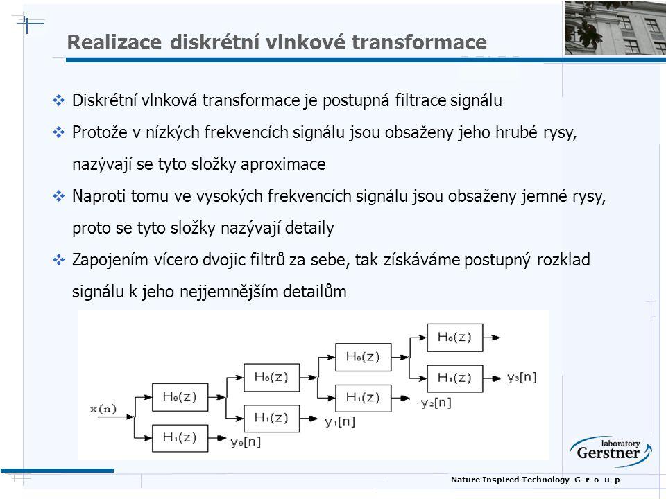 Nature Inspired Technology G r o u p Realizace diskrétní vlnkové transformace  Diskrétní vlnková transformace je postupná filtrace signálu  Protože