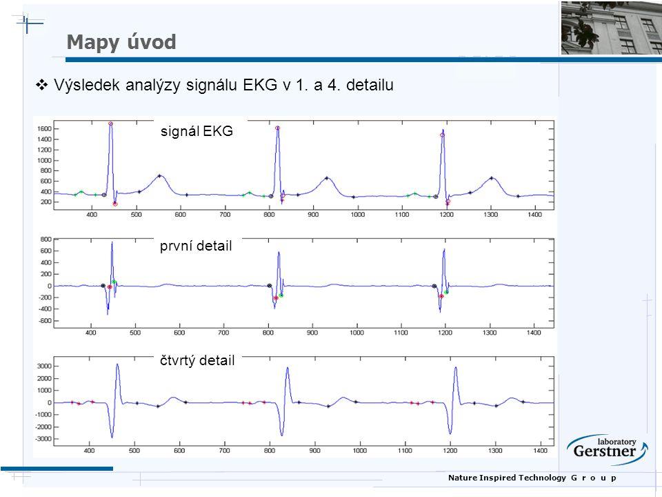 Nature Inspired Technology G r o u p signál EKG první detail čtvrtý detail  Výsledek analýzy signálu EKG v 1. a 4. detailu Mapy úvod