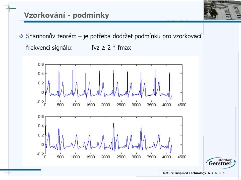 Nature Inspired Technology G r o u p Vzorkování - podmínky  Shannonův teorém – je potřeba dodržet podmínku pro vzorkovací frekvenci signálu: fvz ≥ 2