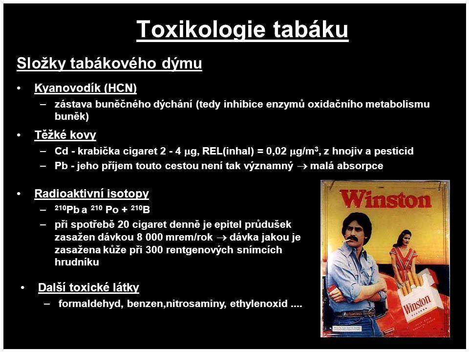 Toxikologie tabáku Kyanovodík (HCN) –zástava buněčného dýchání (tedy inhibice enzymů oxidačního metabolismu buněk) Těžké kovy –Cd - krabička cigaret 2