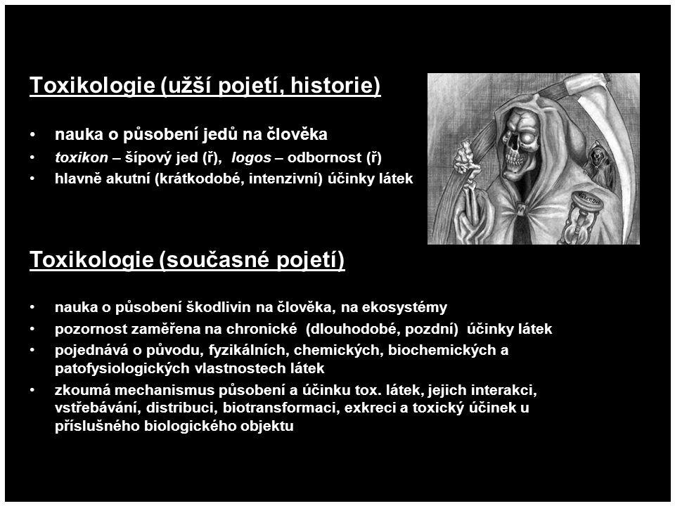 Toxikologie (užší pojetí, historie) nauka o působení jedů na člověka toxikon – šípový jed (ř), logos – odbornost (ř) hlavně akutní (krátkodobé, intenz