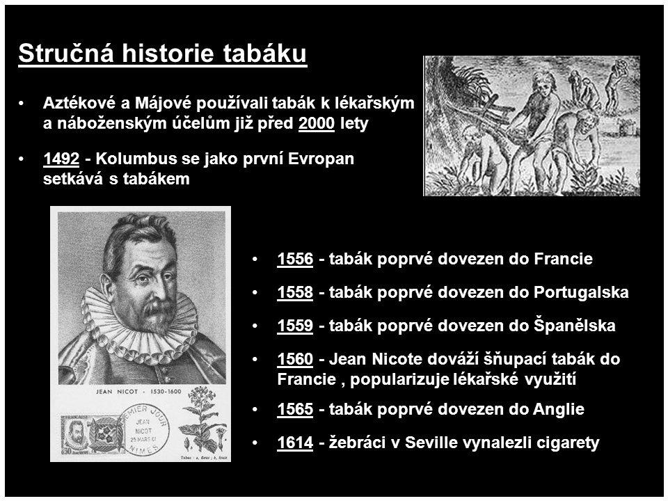 Stručná historie tabáku 1614 - žebráci v Seville vynalezli cigarety 1560 - Jean Nicote dováží šňupací tabák do Francie, popularizuje lékařské využití