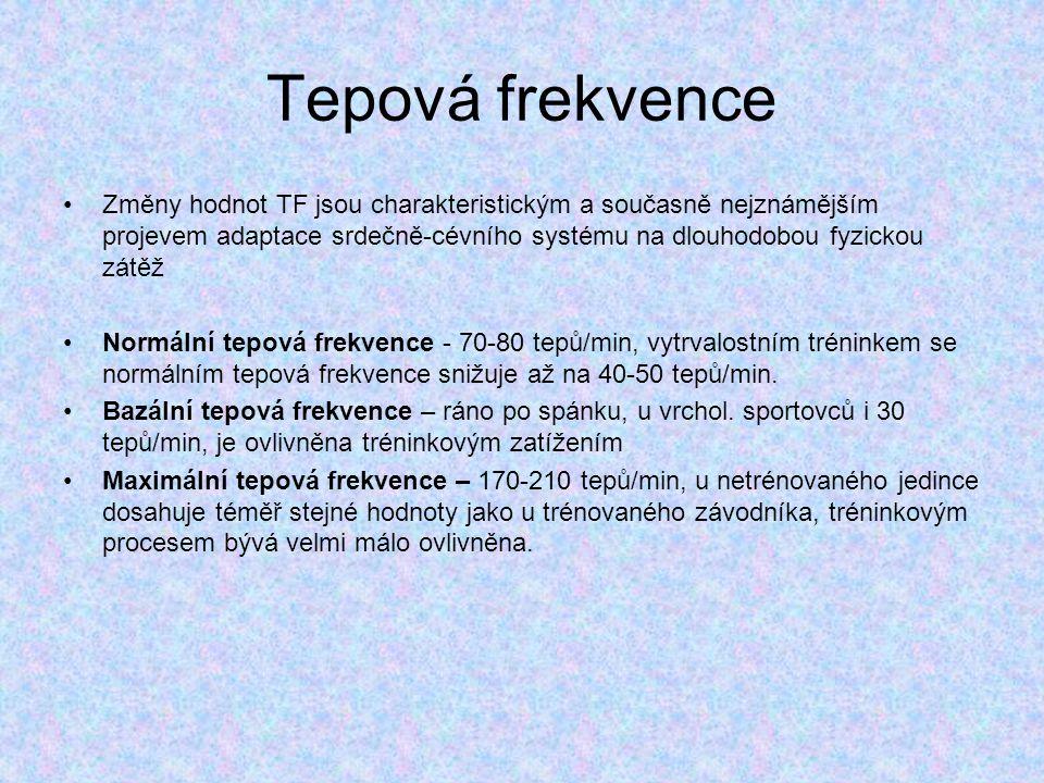 Tepová frekvence Změny hodnot TF jsou charakteristickým a současně nejznámějším projevem adaptace srdečně-cévního systému na dlouhodobou fyzickou zátěž Normální tepová frekvence - 70-80 tepů/min, vytrvalostním tréninkem se normálním tepová frekvence snižuje až na 40-50 tepů/min.
