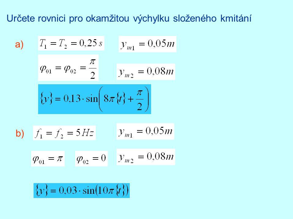 Určete rovnici pro okamžitou výchylku složeného kmitání a) b)