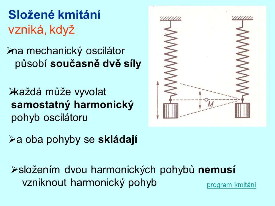 vzniká, když  na mechanický oscilátor působí současně dvě síly  každá může vyvolat samostatný harmonický pohyb oscilátoru  a oba pohyby se skládají  složením dvou harmonických pohybů nemusí vzniknout harmonický pohyb program kmitání