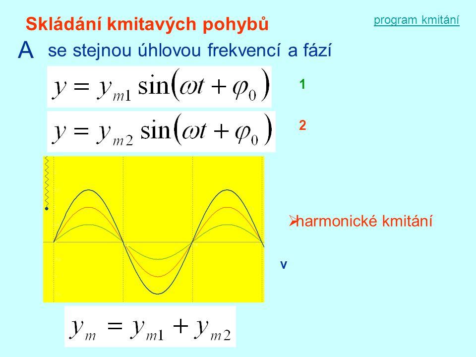 program kmitání Skládání kmitavých pohybů A se stejnou úhlovou frekvencí a fází 1 2  harmonické kmitání v