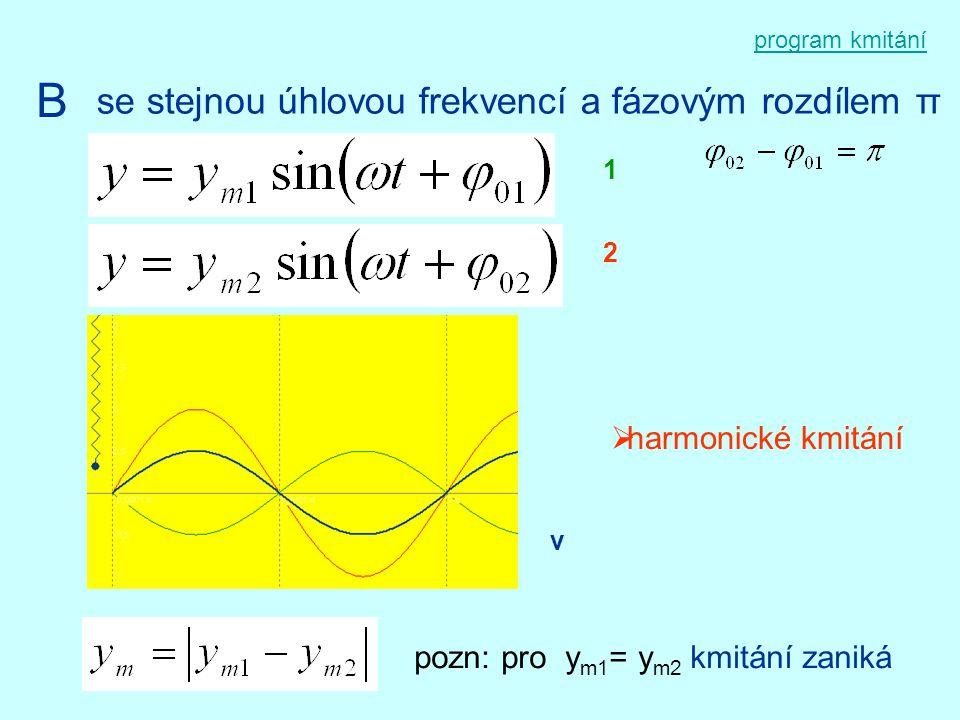 program kmitání B se stejnou úhlovou frekvencí a fázovým rozdílem π 1 2  harmonické kmitání v pozn: pro y m1 = y m2 kmitání zaniká