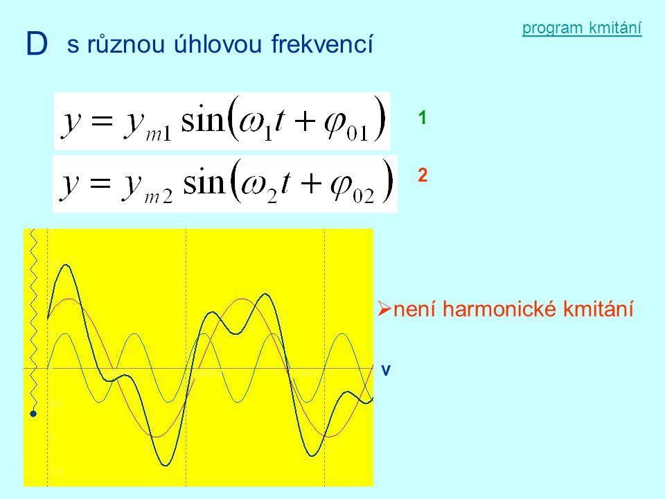 program kmitání D s různou úhlovou frekvencí 1 2  není harmonické kmitání v