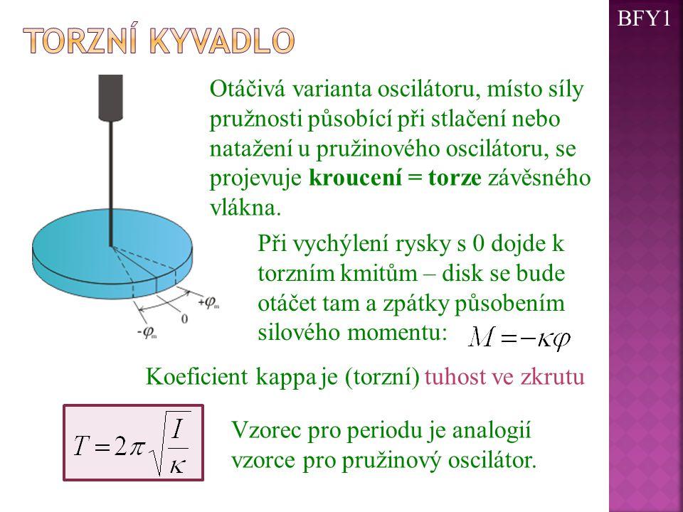 Otáčivá varianta oscilátoru, místo síly pružnosti působící při stlačení nebo natažení u pružinového oscilátoru, se projevuje kroucení = torze závěsnéh
