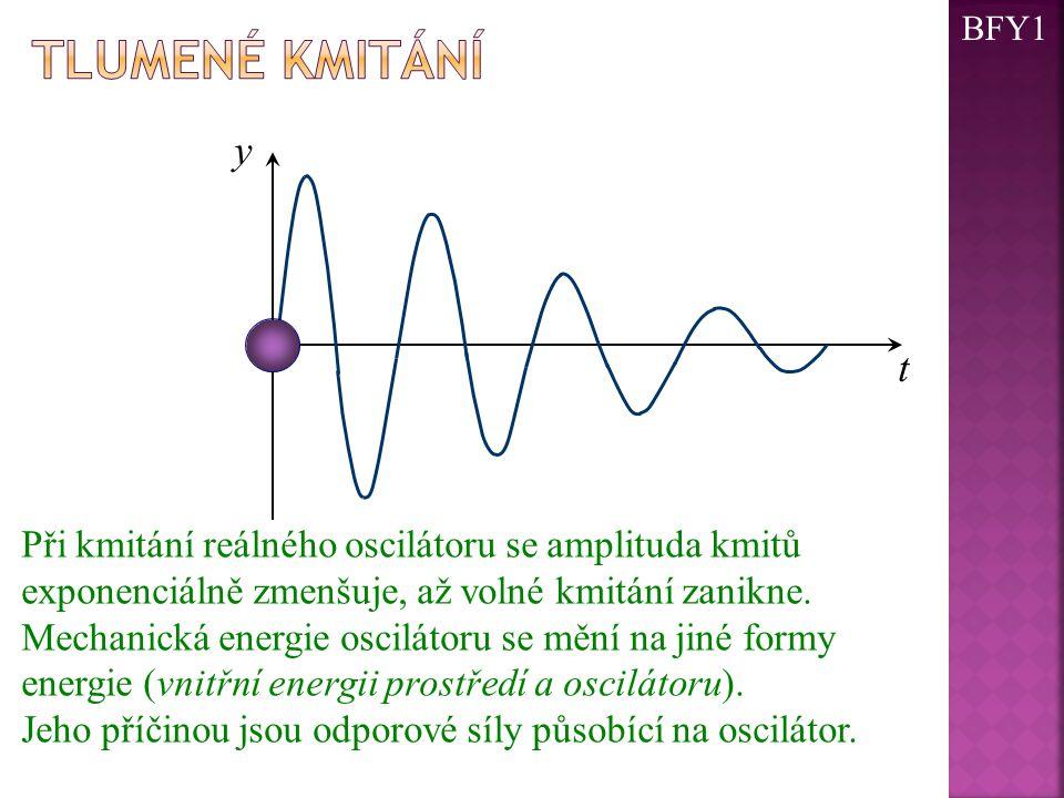 t y Při kmitání reálného oscilátoru se amplituda kmitů exponenciálně zmenšuje, až volné kmitání zanikne. Mechanická energie oscilátoru se mění na jiné