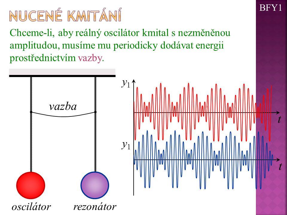 Chceme-li, aby reálný oscilátor kmital s nezměněnou amplitudou, musíme mu periodicky dodávat energii prostřednictvím vazby. oscilátor rezonátor vazba