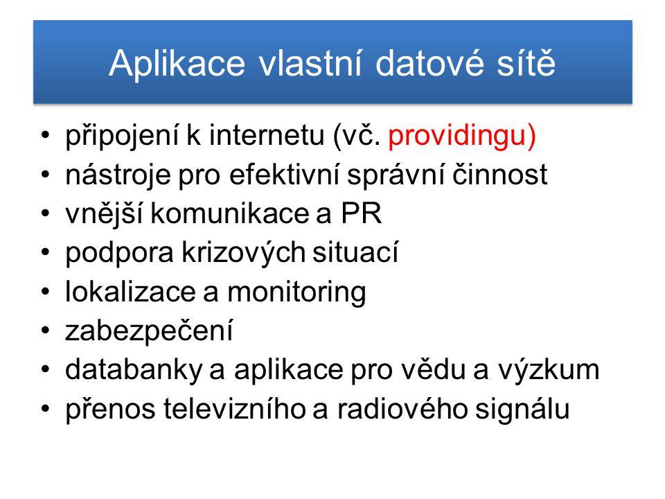 Aplikace vlastní datové sítě připojení k internetu (vč. providingu) nástroje pro efektivní správní činnost vnější komunikace a PR podpora krizových si