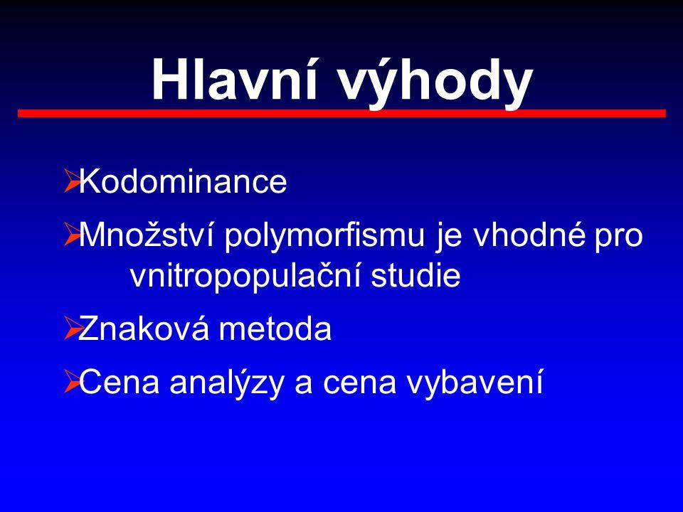 Hlavní výhody  Kodominance  Množství polymorfismu je vhodné pro vnitropopulační studie  Znaková metoda  Cena analýzy a cena vybavení