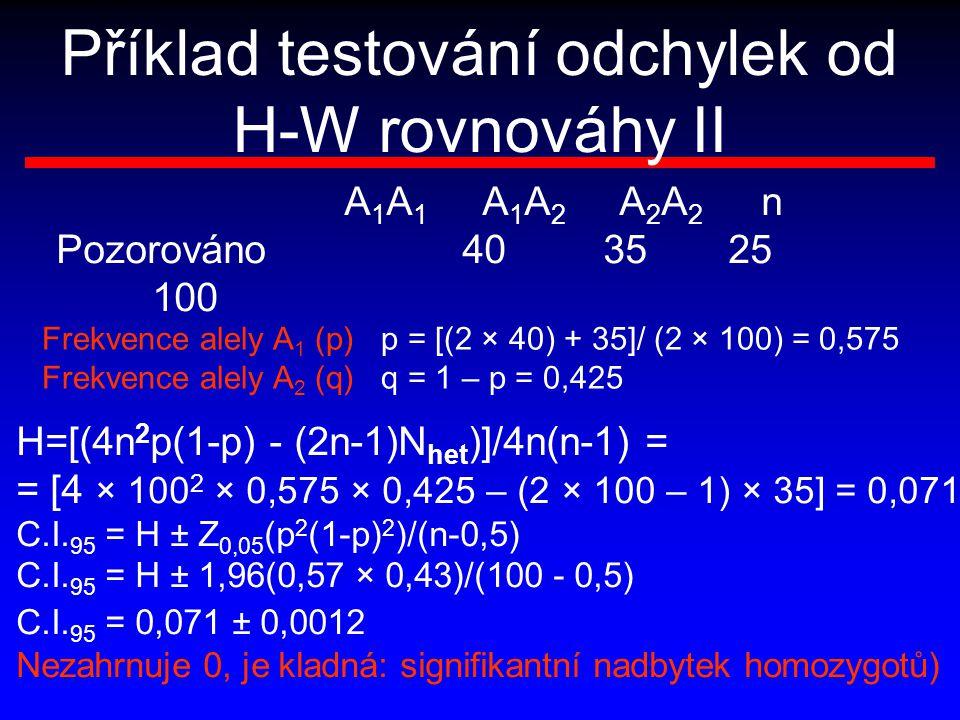 Příklad testování odchylek od H-W rovnováhy II Frekvence alely A 1 (p) p = [(2 × 40) + 35]/ (2 × 100) = 0,575 Frekvence alely A 2 (q) q = 1 – p = 0,42