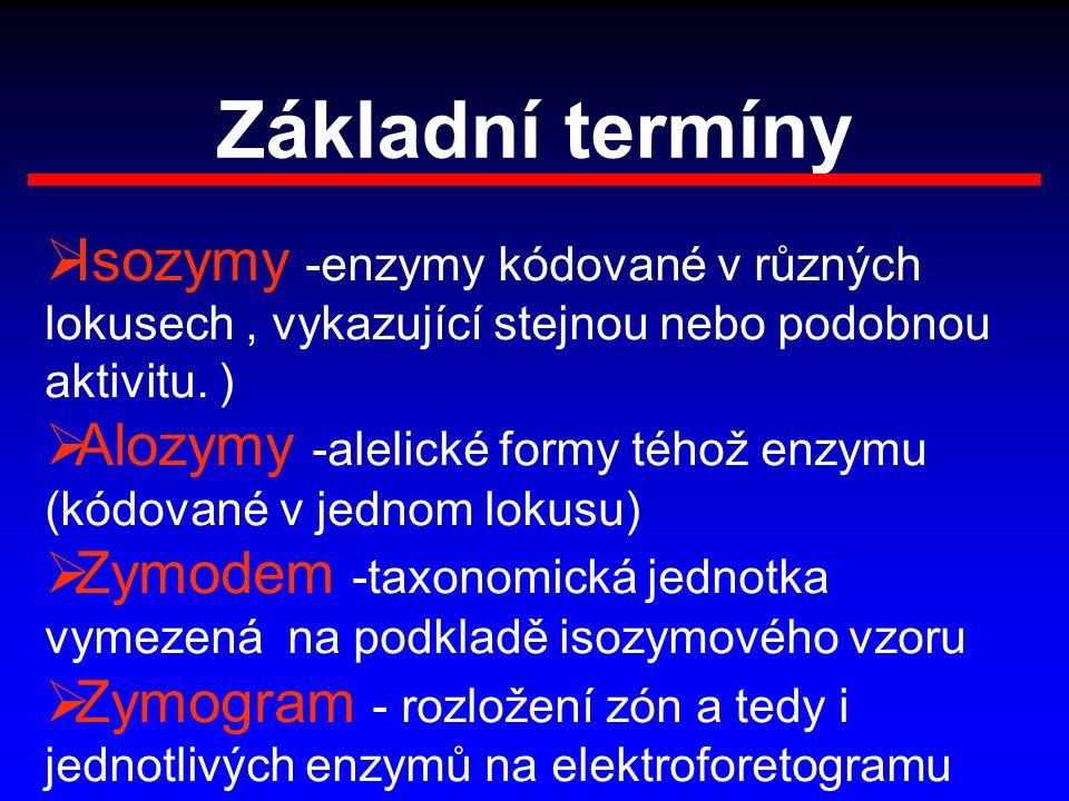 Základní termíny  Isozymy -enzymy kódované v různých lokusech, vykazující stejnou nebo podobnou aktivitu. )  Alozymy -alelické formy téhož enzymu (k