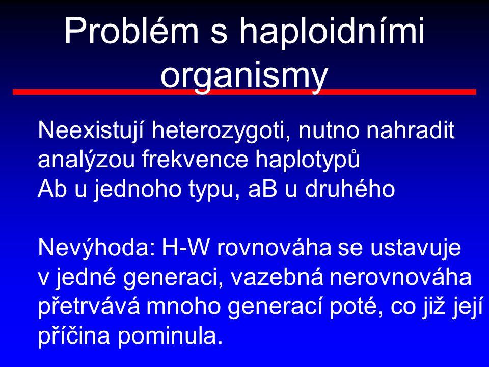 Problém s haploidními organismy Neexistují heterozygoti, nutno nahradit analýzou frekvence haplotypů Ab u jednoho typu, aB u druhého Nevýhoda: H-W rov