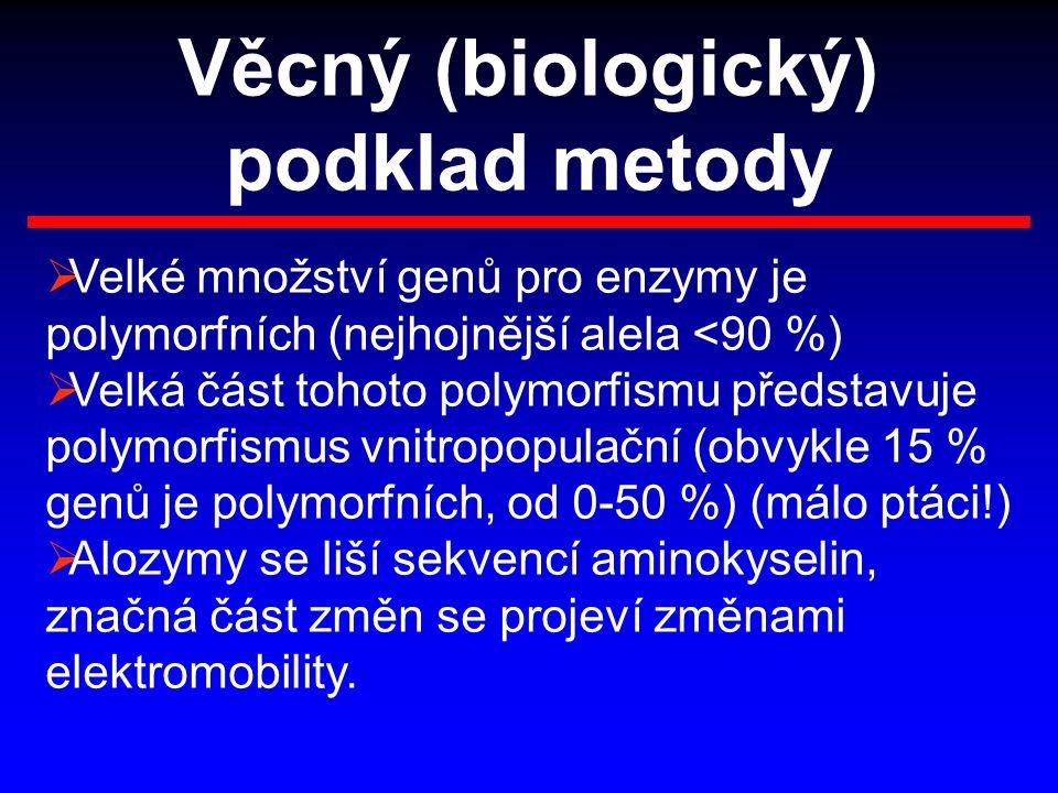 Věcný (biologický) podklad metody  Velké množství genů pro enzymy je polymorfních (nejhojnější alela <90 %)  Velká část tohoto polymorfismu představ