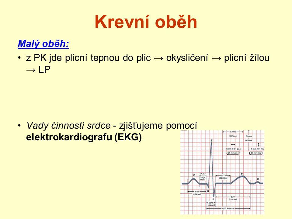 Krevní oběh Malý oběh: z PK jde plicní tepnou do plic → okysličení → plicní žílou → LP Vady činnosti srdce - zjišťujeme pomocí elektrokardiografu (EKG
