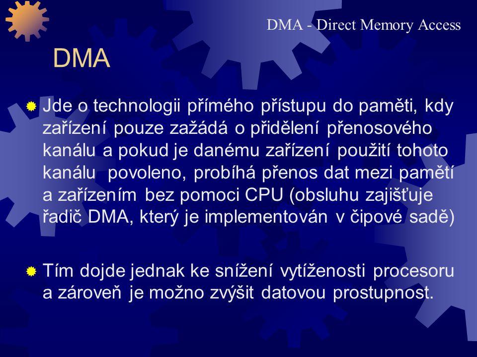 DMA – přímý přístup do paměti  Řadič DMA provádí přenosy mezi zařízením a pamětí v době, kdy sběrnice není procesorem využívána.