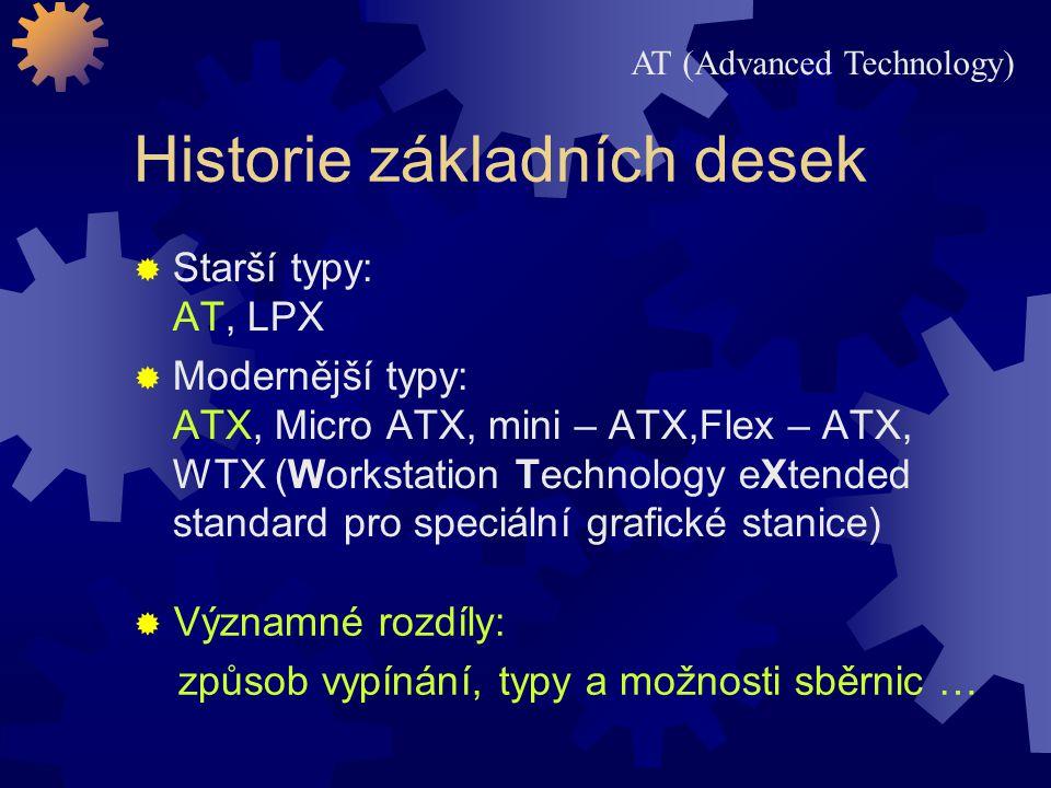 Historie základních desek  Starší typy: AT, LPX  Modernější typy: ATX, Micro ATX, mini – ATX,Flex – ATX, WTX (Workstation Technology eXtended standa