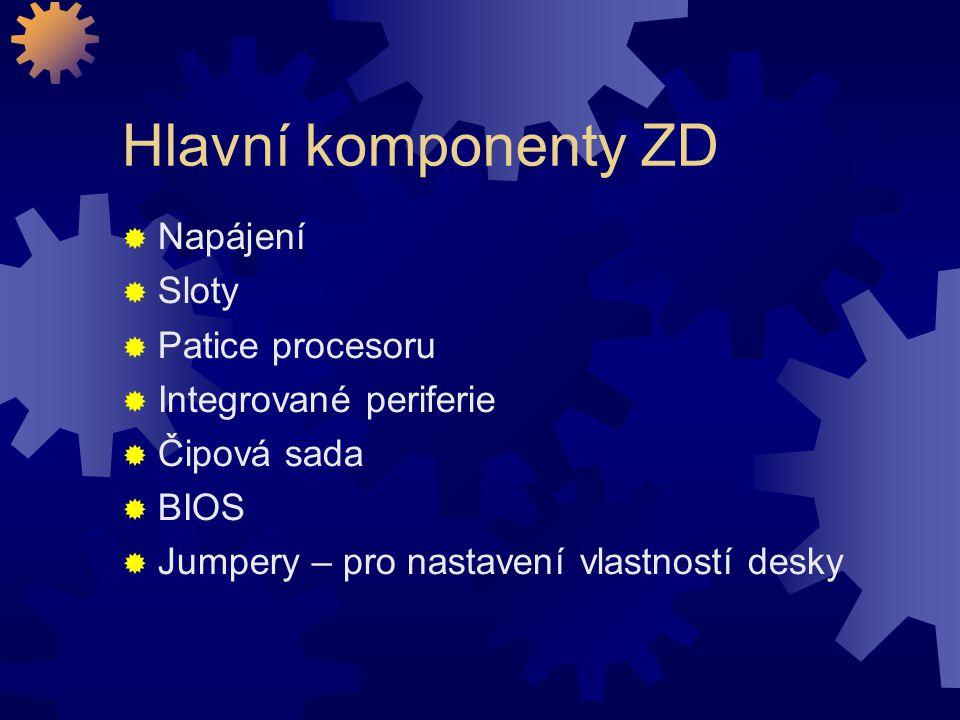 Hlavní komponenty ZD  Napájení  Sloty  Patice procesoru  Integrované periferie  Čipová sada  BIOS  Jumpery – pro nastavení vlastností desky