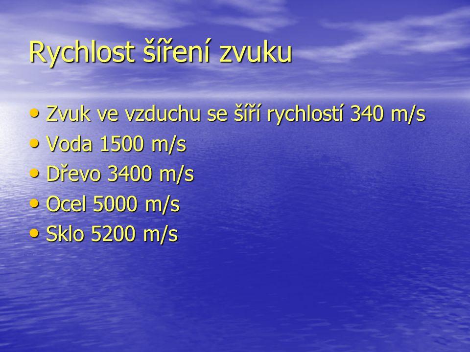 Rychlost šíření zvuku Zvuk ve vzduchu se šíří rychlostí 340 m/s Zvuk ve vzduchu se šíří rychlostí 340 m/s Voda 1500 m/s Voda 1500 m/s Dřevo 3400 m/s Dřevo 3400 m/s Ocel 5000 m/s Ocel 5000 m/s Sklo 5200 m/s Sklo 5200 m/s