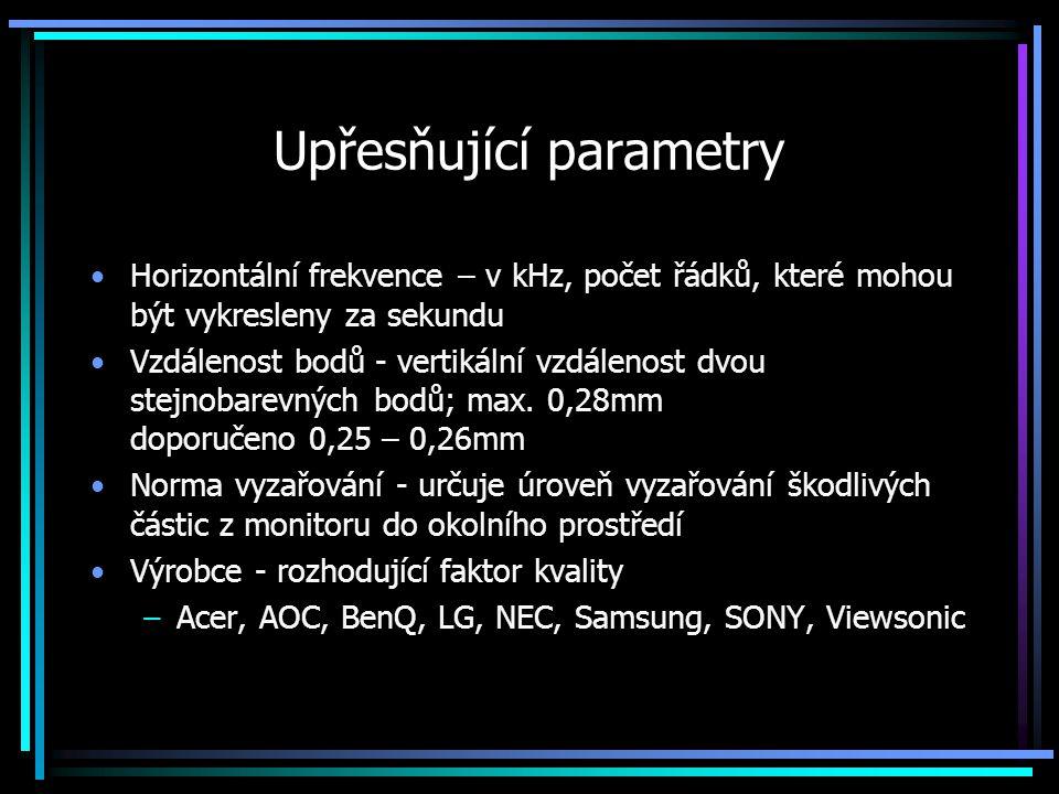 Upřesňující parametry Horizontální frekvence – v kHz, počet řádků, které mohou být vykresleny za sekundu Vzdálenost bodů - vertikální vzdálenost dvou