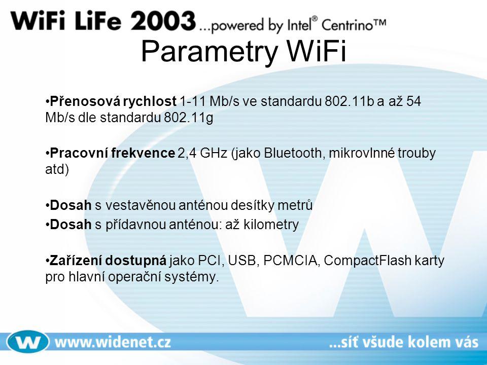 Parametry WiFi Přenosová rychlost 1-11 Mb/s ve standardu 802.11b a až 54 Mb/s dle standardu 802.11g Pracovní frekvence 2,4 GHz (jako Bluetooth, mikrovlnné trouby atd) Dosah s vestavěnou anténou desítky metrů Dosah s přídavnou anténou: až kilometry Zařízení dostupná jako PCI, USB, PCMCIA, CompactFlash karty pro hlavní operační systémy.