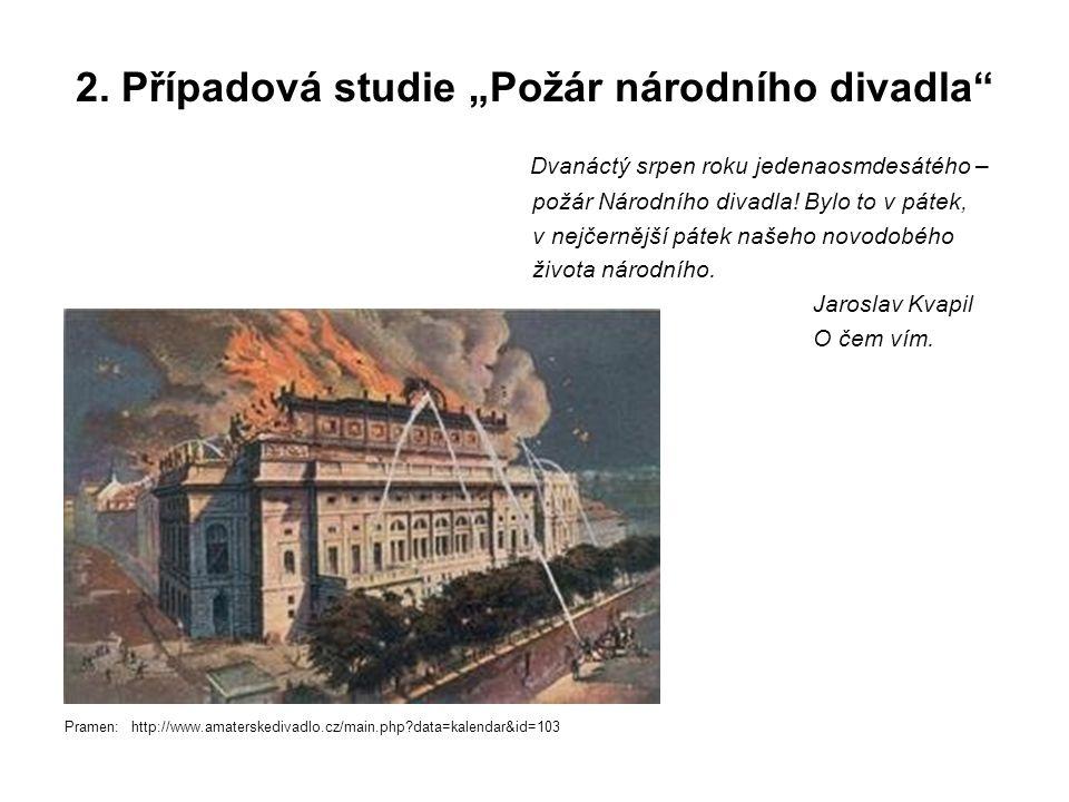 """2. Případová studie """"Požár národního divadla"""" Dvanáctý srpen roku jedenaosmdesátého – požár Národního divadla! Bylo to v pátek, v nejčernější pátek na"""