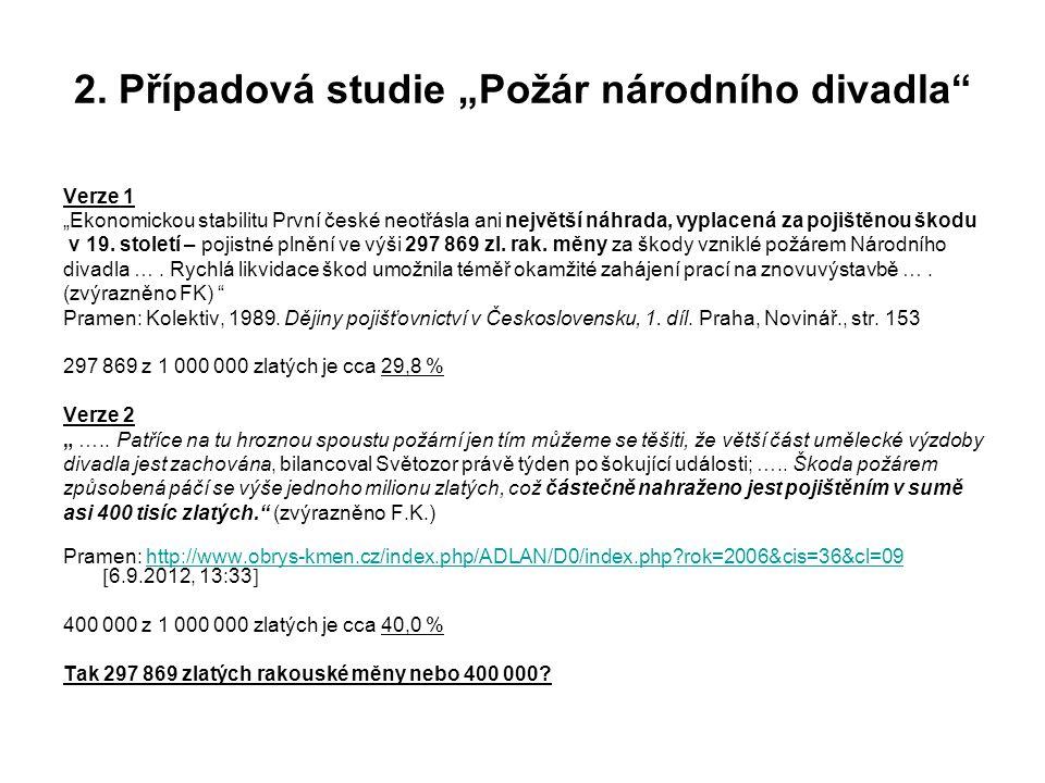 """2. Případová studie """"Požár národního divadla"""" Verze 1 """"Ekonomickou stabilitu První české neotřásla ani největší náhrada, vyplacená za pojištěnou škodu"""