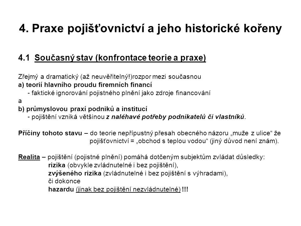 4. Praxe pojišťovnictví a jeho historické kořeny 4.1 Současný stav (konfrontace teorie a praxe) Zřejmý a dramatický (až neuvěřitelný!)rozpor mezi souč