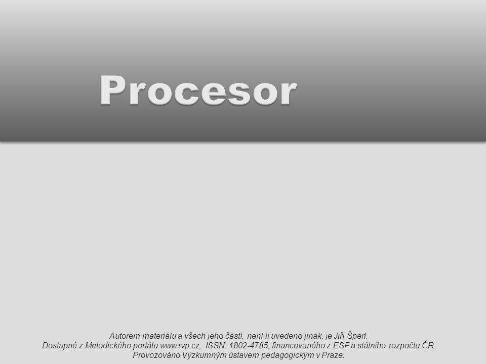 """CPU  procesor (neboli CPU – Central Processing Unit) je řídící jednotka počítače  je umístěn nad rozšiřujícími kartami (AGP slotem) a pod zdrojem  je krytý chladičem s ventilátorem  představuje hlavní výpočetní sílu, která zpracovává a provádí instrukce programů  hovoříme o něm jako o """"srdci počítače 2"""