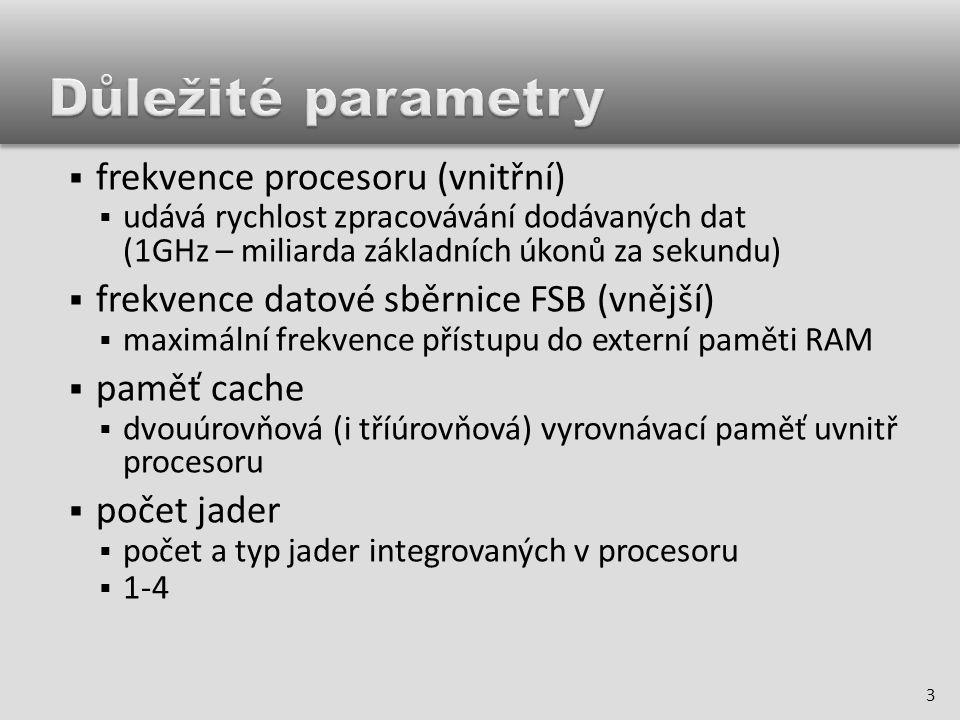  cache první úrovně (L1)  pracuje stejnou rychlostí jako procesor, ale má velmi malou kapacitu  tato cache má velký vliv na výkon procesoru  cache druhé úrovně (L2)  je pomalejší, ale má větší kapacitu než L1  vyrovnává rychlost přenosu dat mezi procesorem a pomalejší operační pamětí 4