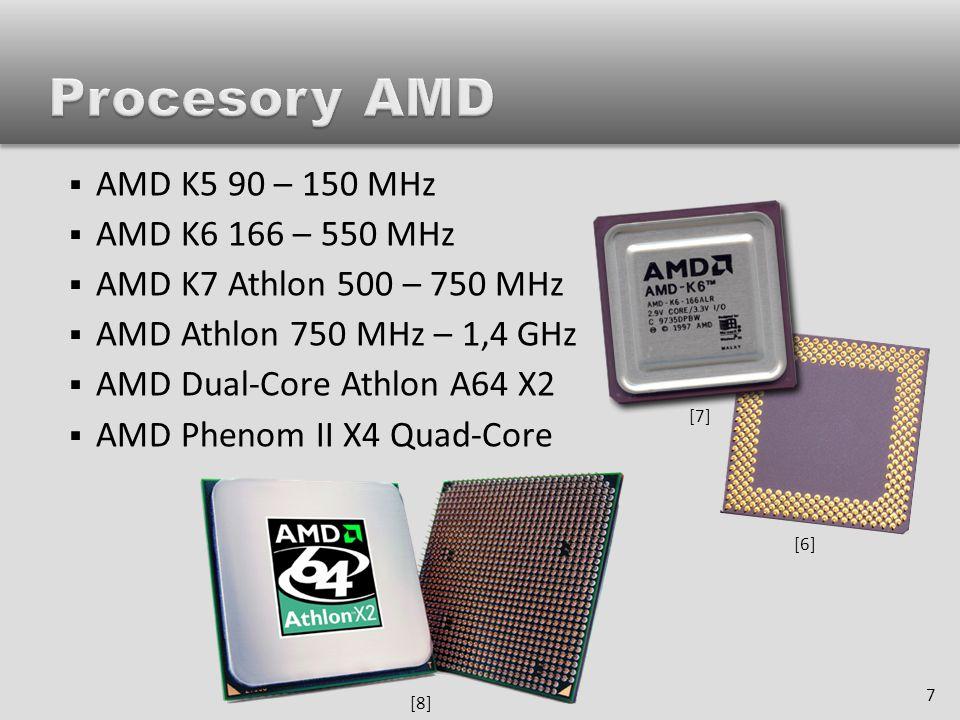  rychlost procesoru je udávána v GHz  výkon procesoru však nezáleží jen na jeho rychlosti, ale i na dalších parametrech, např.:  konstrukce, architektura a počet jader  velikost a rychlost cache  FSB sběrnice 8