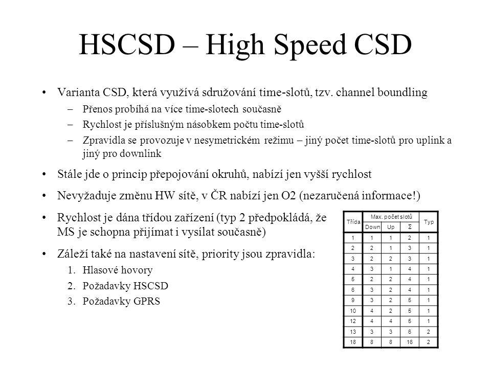 HSCSD – High Speed CSD Varianta CSD, která využívá sdružování time-slotů, tzv. channel boundling –Přenos probíhá na více time-slotech současně –Rychlo
