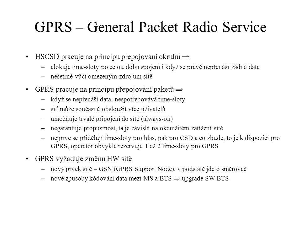 GPRS – General Packet Radio Service HSCSD pracuje na principu přepojování okruhů  –alokuje time-sloty po celou dobu spojení i když se právě nepřenáší žádná data –nešetrné vůči omezeným zdrojům sítě GPRS pracuje na principu přepojování paketů  –když se nepřenáší data, nespotřebovává time-sloty –síť může současně obsloužit více uživatelů –umožňuje trvalé připojení do sítě (always-on) –negarantuje propustnost, ta je závislá na okamžitém zatížení sítě –nejprve se přidělují time-sloty pro hlas, pak pro CSD a co zbude, to je k dispozici pro GPRS, operátor obvykle rezervuje 1 až 2 time-sloty pro GPRS GPRS vyžaduje změnu HW sítě –nový prvek sítě – GSN (GPRS Support Node), v podstatě jde o směrovač –nové způsoby kódování data mezi MS a BTS  upgrade SW BTS
