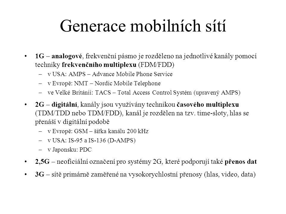 Generace mobilních sítí 1G – analogové, frekvenční pásmo je rozděleno na jednotlivé kanály pomocí techniky frekvenčního multiplexu (FDM/FDD) –v USA: AMPS – Advance Mobile Phone Service –v Evropě: NMT – Nordic Mobile Telephone –ve Velké Británii: TACS – Total Access Control Systém (upravený AMPS) 2G – digitální, kanály jsou využívány technikou časového multiplexu (TDM/TDD nebo TDM/FDD), kanál je rozdělen na tzv.