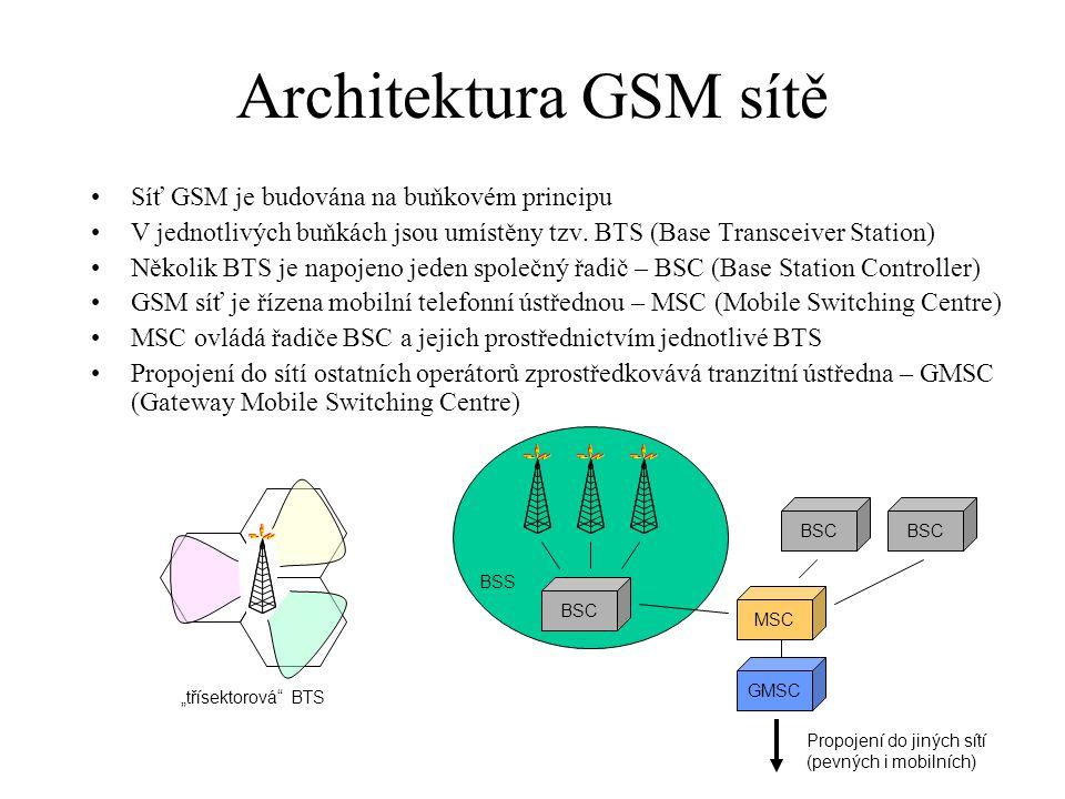 Architektura GSM sítě Síť GSM je budována na buňkovém principu V jednotlivých buňkách jsou umístěny tzv. BTS (Base Transceiver Station) Několik BTS je