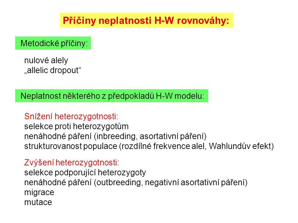 """Příčiny neplatnosti H-W rovnováhy: Metodické příčiny: Neplatnost některého z předpokladů H-W modelu: nulové alely """"allelic dropout"""" Snížení heterozygo"""