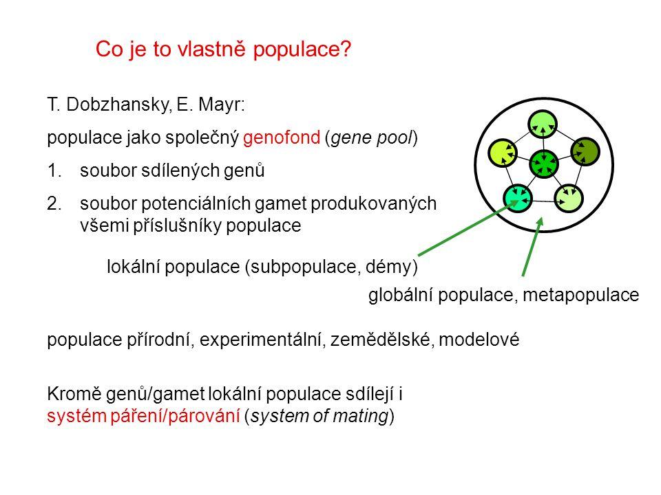 Co je to vlastně populace? T. Dobzhansky, E. Mayr: populace jako společný genofond (gene pool) 1.soubor sdílených genů 2.soubor potenciálních gamet pr