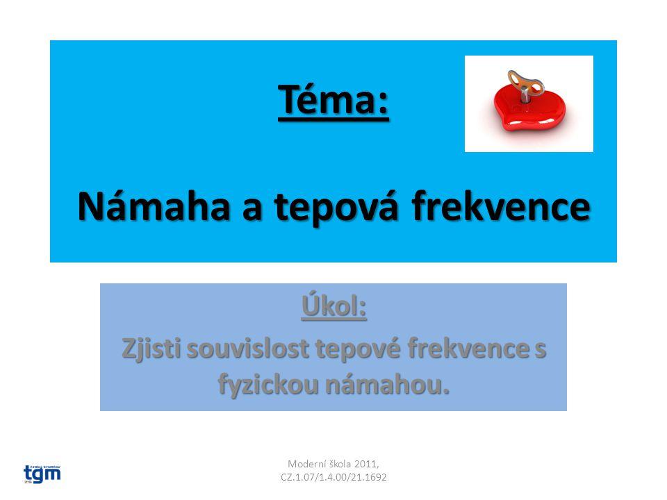 Téma: Námaha a tepová frekvence Úkol: Zjisti souvislost tepové frekvence s fyzickou námahou.