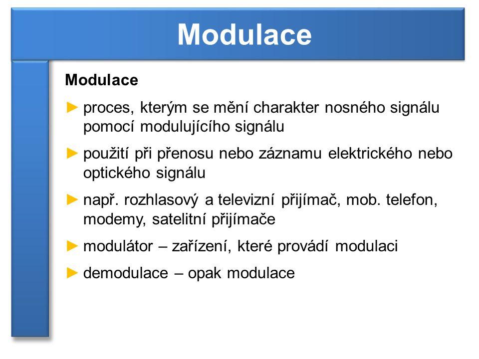 ►proces, kterým se mění charakter nosného signálu pomocí modulujícího signálu ►použití při přenosu nebo záznamu elektrického nebo optického signálu ►n