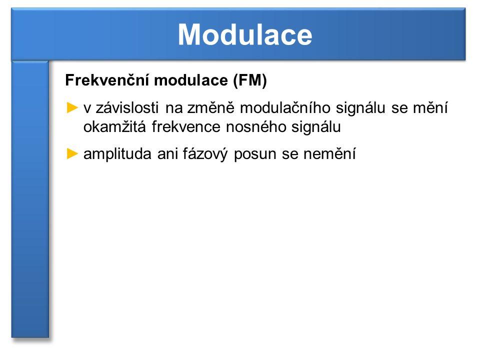 Frekvenční modulace (FM) ►v závislosti na změně modulačního signálu se mění okamžitá frekvence nosného signálu ►amplituda ani fázový posun se nemění M
