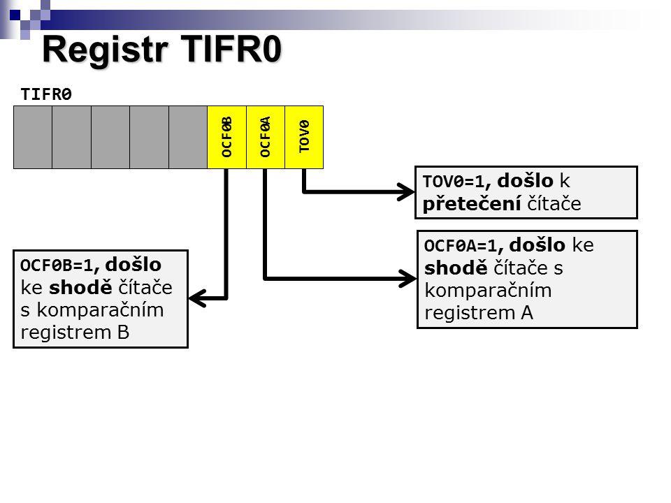 Registr TIFR0 OCF0BOCF0A TOV0 TIFR0 TOV0=1, došlo k přetečení čítače OCF0A=1, došlo ke shodě čítače s komparačním registrem A OCF0B=1, došlo ke shodě čítače s komparačním registrem B