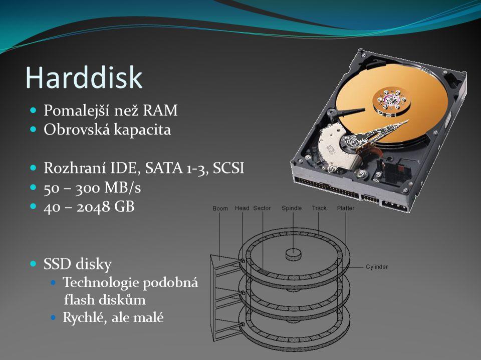 Harddisk Pomalejší než RAM Obrovská kapacita Rozhraní IDE, SATA 1-3, SCSI 50 – 300 MB/s 40 – 2048 GB SSD disky Technologie podobná flash diskům Rychlé