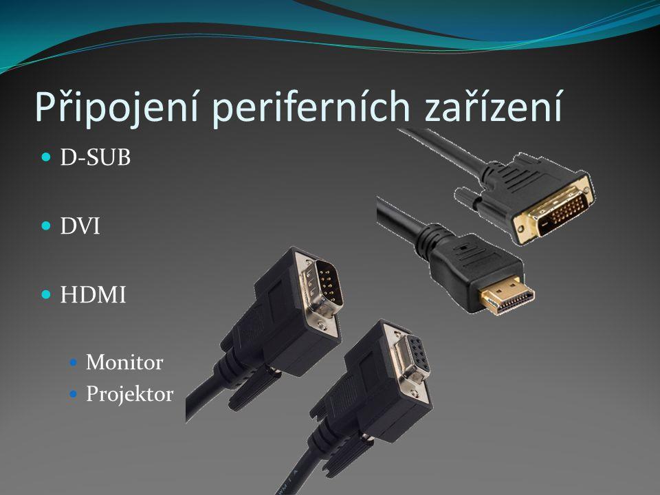 Připojení periferních zařízení D-SUB DVI HDMI Monitor Projektor