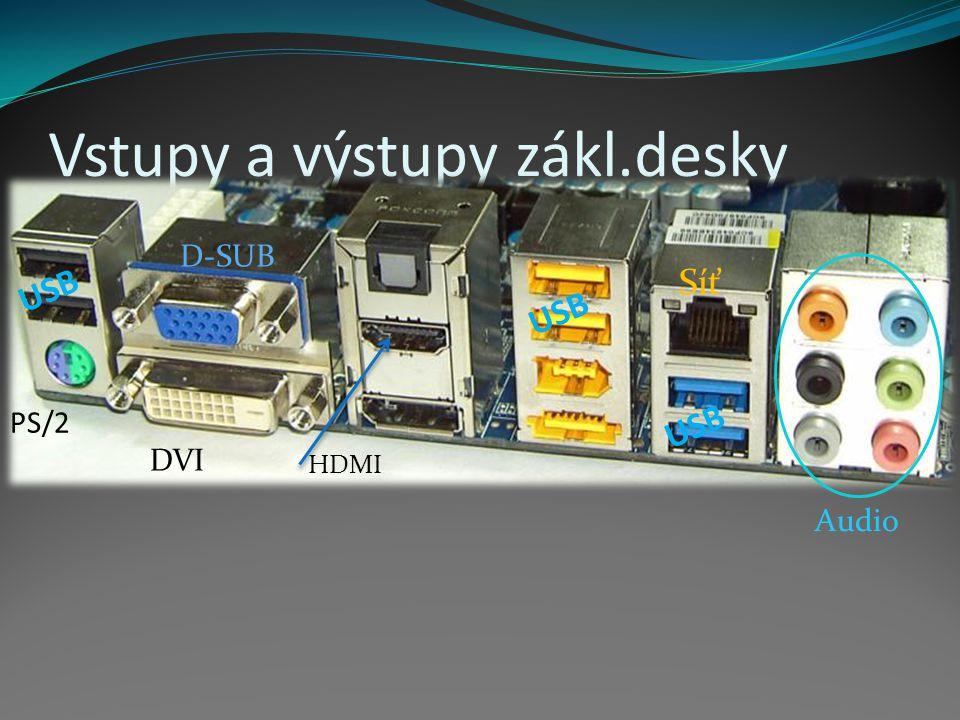 Vstupy a výstupy zákl.desky Audio D-SUB DVI PS/2 USB Síť HDMI