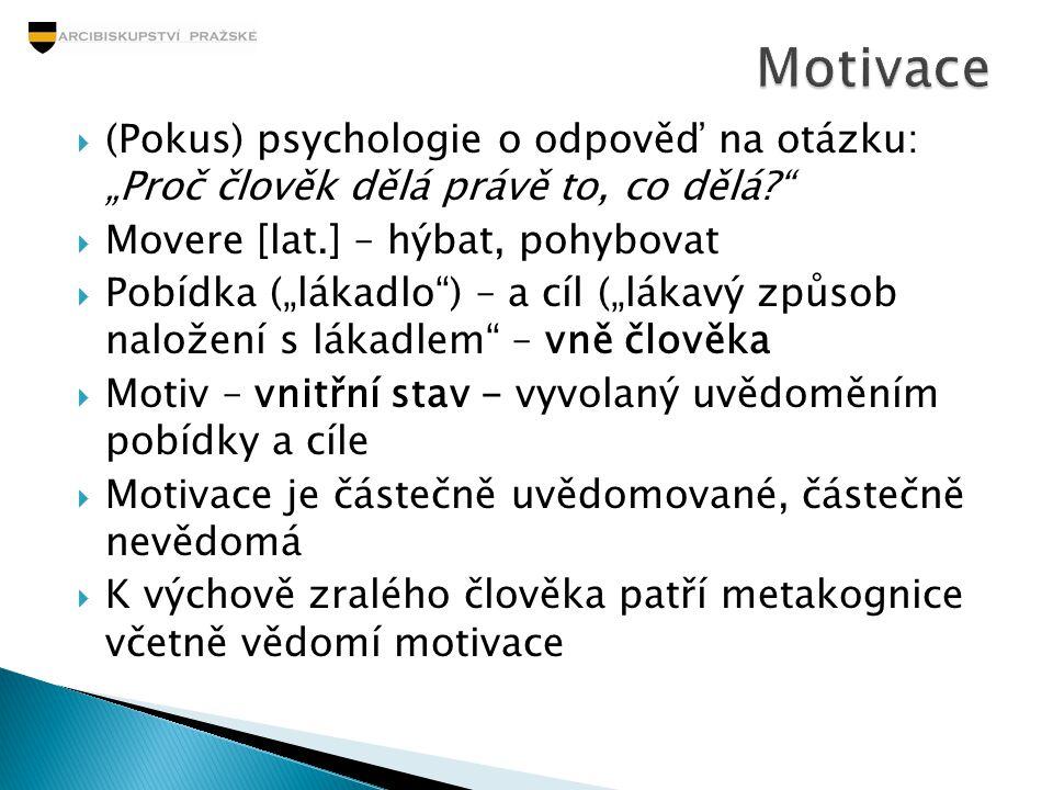 """ (Pokus) psychologie o odpověď na otázku: """"Proč člověk dělá právě to, co dělá?""""  Movere [lat.] – hýbat, pohybovat  Pobídka (""""lákadlo"""") – a cíl (""""lá"""